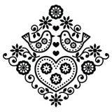 Folk art floral black  pattern with birds Stock Photo