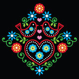 Folk art floral  pattern on black Royalty Free Stock Image