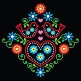 Folk art floral pattern on black. Folk design, background with flowers and birds stock illustration