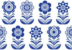Folk art flowers, seamless vector floral pattern, Scandinavian navy blue repetitive design, Nordic ornament. Retro floral background inspired by Swedish and Stock Photography