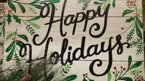 Folk Art Happy Holidays. Country style wooden Folk art Holiday sign Stock Image