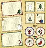 Folk Art Holiday Cards and Labels stock illustration