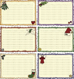 Folk Art Holiday Recipe Cards Stock Image