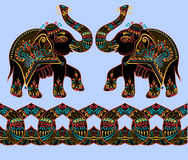 Folk art indian elephant, vector dot painting illustration Royalty Free Stock Photos