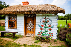 Folk art. Painted house in Zalipie, Poland. The village of Zalipie Poland is well known of its original painted houses and farm buildings, decorated with flower royalty free stock photos