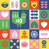 Folk art pattern with bird and decorative elements. Geometric print. Scandinavian style. Vector illustration Royalty Free Stock Images