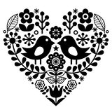Folk art pattern with birds and flowers - Finnish inspired, Valentine`s Day Royalty Free Stock Photo