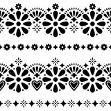 Mexican folk seamless vector background - black and white long designs with flowers Royalty Free Stock Photography