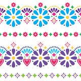 Mexican folk seamless vector background - colorful long designs with flowers. Folk art pattern decor inspired by traditional art form Mexico on white background