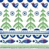 Folk art pattern. In Scandinavian, Nordic style stock illustration