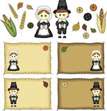 Folk Art Pilgrims and Thanksgiving Icons Royalty Free Stock Photos