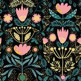 Folk art pink, gold flowers and teal leaves. Paper cut out effect on leaves. Seamless vector half drop pattern with. Random sparkles on black background. Great stock illustration