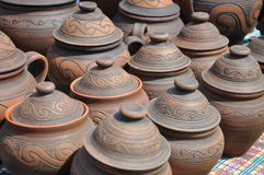 Folk art, pottery, pots Stock Photos