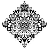 Folk art retro square vector pattern with birds and flowers, Scandinavian black and white symmetric design Royalty Free Stock Photo