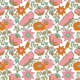 Folk art seamless floral pattern Ethnic flowers Floral folk art Folkart Flower pattern Vintage background Vector illustration Ethn Royalty Free Stock Photo