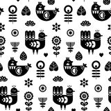 Folk art seamless pattern with birds and decorative floral elements. Black and white print template. Good for printing. Scandinavian style. Vector illustration Royalty Free Stock Images