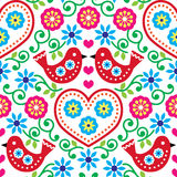 Folk art seamless pattern with flowers and birds. Repetitive background - colourful folk pattern on white royalty free illustration