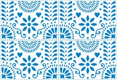 Folk art seamless pattern, Mexican blue design with flowers inspired by traditional art form Mexico. Repetitive background with flowers and abstract shapes royalty free illustration