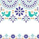 Folk art seamless pattern, Mexican blue design with flowers inspired by traditional art form Mexico. Repetitive background with flowers and abstract shapes vector illustration