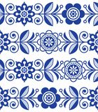 Folk art seamless pattern, vector floral repetitive design - Scandinavian style. Retro navy blue background with flowers inspired by Swedish and Norwegian Stock Photography