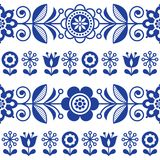 Folk art seamless vector pattern with flowers, navy blue floral repetitive design - Scandinavian style. Retro navy blue background with flowers inspired by Royalty Free Stock Photos