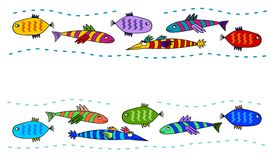 Folk Art Style Fish. Funky abstract fish border design Royalty Free Stock Images