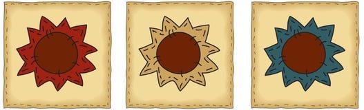 Folk Art Sunflower Patches Royalty Free Stock Photos