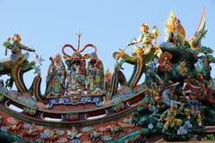 Folk art  taiwans temple architecture Koji Pottery. General knights warrior and phoenix Royalty Free Stock Photo