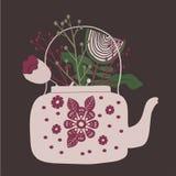 Cute folk art tea pot with flower block print vector illustration. Folk art tea pot with flower block print vector illustration vector illustration