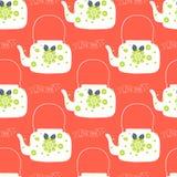 Cute folk art tea pot with flower block print vector illustration. Folk art tea pot with flower block print vector illustration royalty free illustration