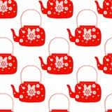Cute folk art tea pot with flower block print vector illustration. Folk art tea pot with flower block print vector illustration stock illustration
