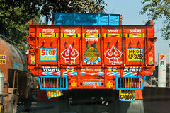 Folk art in traffic. The back of a truck in Mumbai, India, characteristically brightly painted and adorned: folk art in traffic Royalty Free Stock Photos