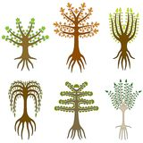 Folk art trees Stock Images