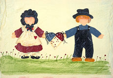 Folk art of two people holding a basket Stock Photo