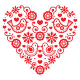 Folk art Valentine's Day heart - love, wedding, birthday greetings card Royalty Free Stock Photography
