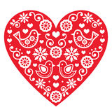 Folk art Valentine's Day heart- love, wedding, birthday greetings card Royalty Free Stock Images