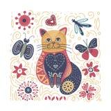 Folk art vector cat illustration. Folk art vector animal illustration in scandinavian style. Tribal nordic square card with detailed cat and floral decoration vector illustration