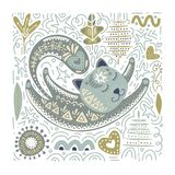 Folk art vector cat illustration. Folk art vector animal illustration in scandinavian style. Tribal nordic square card with detailed cat and floral decoration royalty free illustration