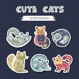 Folk art vector cat set. Folk art vector cat set in scandinavian style. Tribal nordic detailed animal sticker collection. Ethnic cute illustrations vector illustration