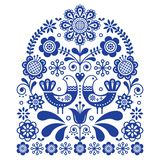 Folk art vector ornament with birds and flowers, Scandinavian navy blue floral pattern Stock Images