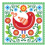 Folk art vector pattern with bird and flowers Royalty Free Stock Images