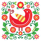 Folk art vector pattern with bird and flowers Royalty Free Stock Photos