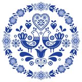 Folk art vector round ornamental frame with birds, hearts, and flowers, Scandinavian design in circle, floral composition Stock Image