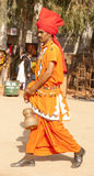 A folk artist. Going for his performance. Picture taken at the annual art and craft cultural festival held at kalagram panchkula. The picture is taken on Dec 09 stock photos