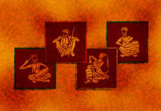 Folk artist wallpaper. Wallpaper background featuring collage of Illustration of folk singer and folk drummers and a female artist from the part of Rajasthan in Stock Photo