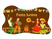 Folk av Brasilien som firar Festa Junina den ?rliga brasilianska festivalen vektor illustrationer