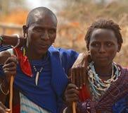 Folk av den Maasai stammen, Tanzania Royaltyfria Bilder