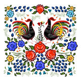 Folk background.Colorful flowers and leafs with cocks on white. Background Royalty Free Stock Photo