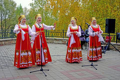 Folk band in national costume Royalty Free Stock Images