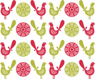 Folk birds seamless pattern in vector. Royalty Free Stock Image